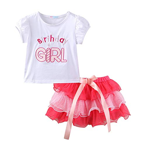 Birthday Outfit for Girl Birthday T-Shirt and Pink Tutu Skirt Set 4T