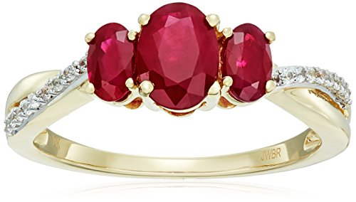 10k Yellow Gold Genuine Burmese Ruby Oval with Genuine White Sapphire Fashion Ring, Size 6