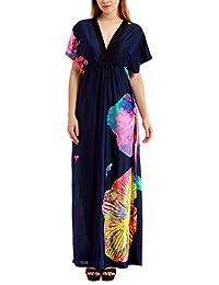 Bewish Womens Summer Casual Floral Printed Short Sleeve V-Neck Maxi Long Dress