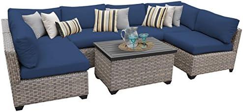 TK Classics MONTEREY-07a-NAVY Monterey 7 Piece Outdoor Wicker Patio Furniture Set, Navy