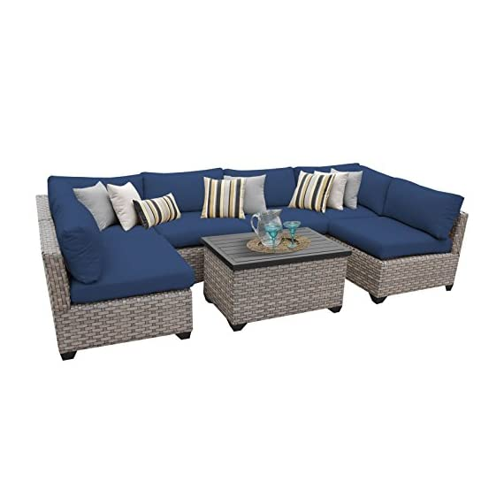 """TK Classics MONTEREY-07a-NAVY Monterey 7 Piece Outdoor Wicker Patio Furniture Set, Navy - FULLY ASSEMBLED - Seating area is ready to use and enjoy with family and friends Imported from China 32"""" x 25"""" x 32"""" - patio-furniture, patio, conversation-sets - 41Tk2iE80JL. SS570  -"""