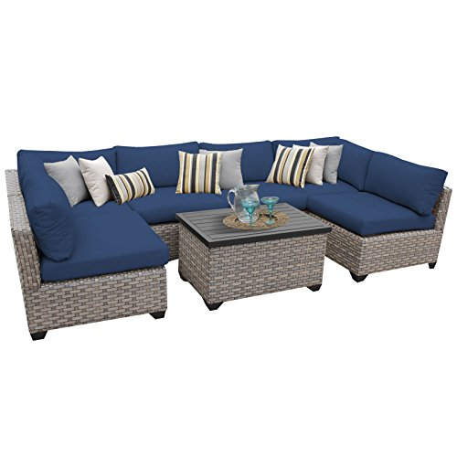 TK Classics MONTEREY-07a-NAVY Monterey 7 Piece Outdoor Wicker Patio Furniture Set, Navy