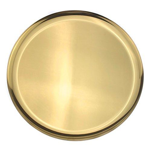Round Storage Trays Plate Nordic Style Stainless Steel Gradient Metal Serving Tray Dish Decorative for Jewelry Fruit Cupcake Organizer,Gold ()