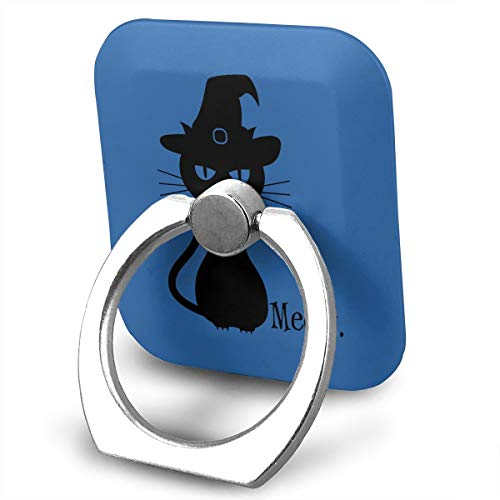 (C-Emily Black Cat Halloween Phone Ring Stand Holder 360 Degree Rotation Cell Phone Finger Stand Car Mount Almost All Phones)