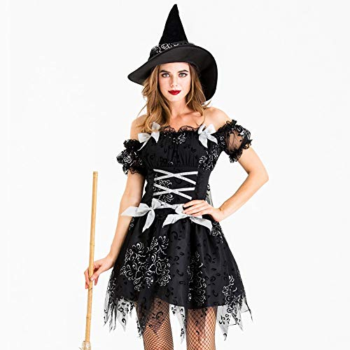 Halloween Party Decor Cape Town (LGW Women's Witch Halloween Costume Black Party Dress Set Gothic Adult Ghost Town Cute Sexy Masquerade)