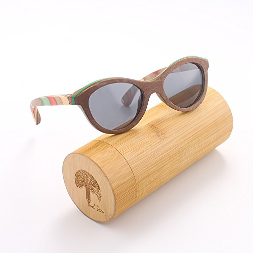 Wood Fans sunglasses, UV400 polarized lens sunglasses, natural wooden sunglasses, color wooden craft gift - Roundglasses