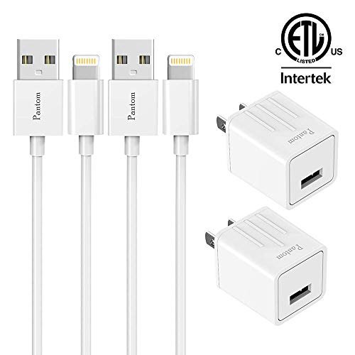iPhone Chargers, Pantom 2-Pack Wall Charger Adapter Plugs with 2-Pack 5-FeetLightning Cables Charge Sync Compatible with iPhones and iPads (White) (Home Oem Charger Wall)