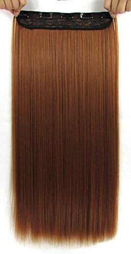Hair Extension Ginger - Beaute Galleria – 22 Inches Clip In Synthetic Hair Extensions (Straight) (Light Ginger Brown)