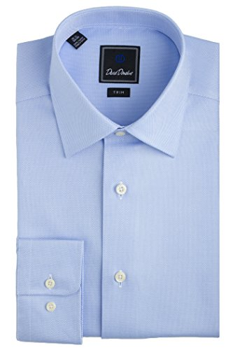 David Donahue Men's Royal Oxford Trim Fit Dress Shirt - Blue Size 16, 34/35 (Barrel Cuff Dress Shirt)