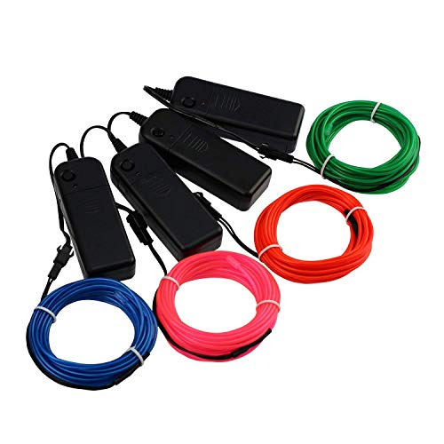 ECTY Neon Light EL Wire with Battery Pack for Christmas Tree, Easter Halloween Burning Man DIY Decoration, Home Deco, Parties Favor (Blue/Pink/Red/Green, Each of 15 ft, 4 Pack) ()