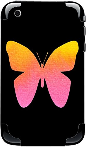 Watercolor Butterfly Yellow Orange Pink Black Background iPhone 3G&3GS Vinyl Decal Sticker Skin