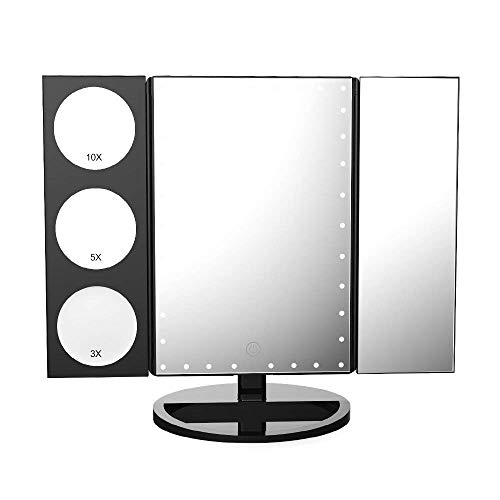 Easehold 35 LED Lighted Vanity Makeup Mirror Tri-Fold with 3X 5X 10X Magnifiers 360 Degree Free Rotation Countertop Bathroom Cosmetic Mirror (Black) ()