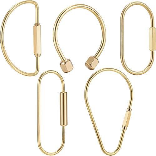 真鍮製スクリューロックキーチェーン シンプルな真鍮製キーチェーン 楕円形のキーリング 真鍮製ロッククリップ キーホルダー 男女兼用 5個セット