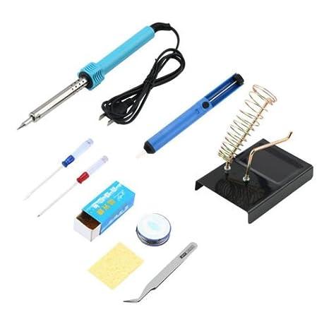 batterelec (TM) 9 en 1 herramienta de soldadura eléctrica Kit Set hierro soporte Desolder Bomba pinzas 60 W A0350: Amazon.es: Electrónica