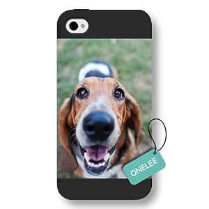 Onelee(TM) - Design of Basset Hound iPhone 4/4s Hard Plastic Case & Cover - Black 6