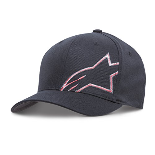 Alpinestars Men's Curved Bill Structured Crown Flex Back Flat Embroidered Logo Flexfit Hat, Trans Corp Black, L/XL
