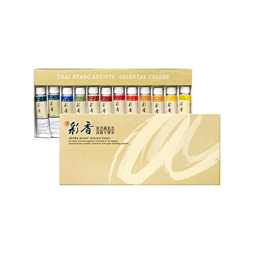 Korean Oriental Watercolour Paint Alpha Gold Set 12 Colours 15ml 0.50oz (Gold 1/2 Oz Tube)