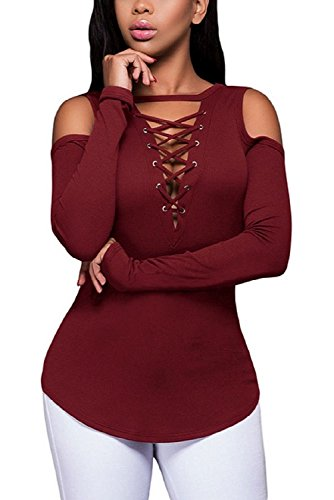 SRYSHKR Women Cold Off Shoulder Blouse Lace-Up Ribbed Tops Casual T-shirts (M, Red wine)