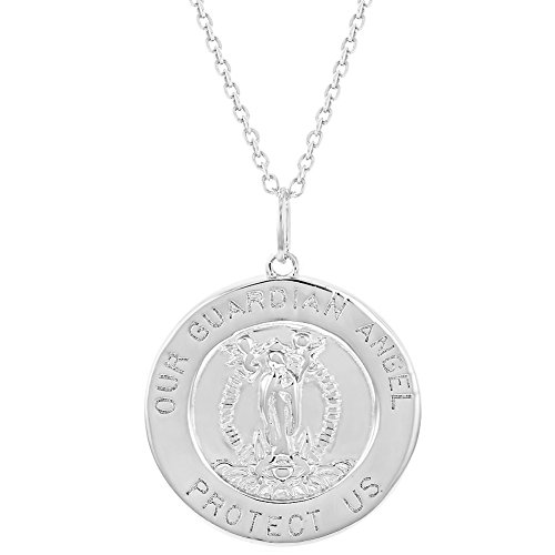 925 Sterling Silver Guardian Angel Round Medal Religious Pendant Necklace 19