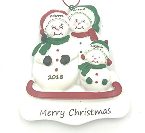Personalized Snowman Family of 3 Christmas Engraved Ornament 2019