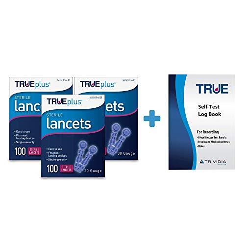 3 x 100ct 30g TRUEplus® Lancets + TRUEplus® Log Book