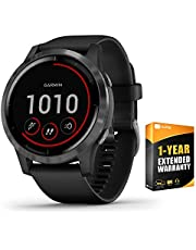 Garmin 010-02174-11 Vivoactive 4 Smartwatch Black/Stainless Bundle with 1 Year Extended Warranty