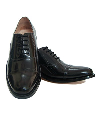 Asm Handmade Goodyear Welted Black Oxford/Brogue Dress Leather Shoes With Argentina Leather Sole, Leather Insole, Fully Leather Lining and PU Foot Pad For Optimum Comfort For Men. Article H103 (8) (Brogue Shoe Welted)