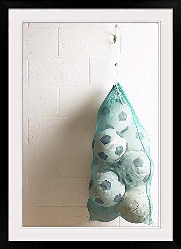 GreatBIGCanvas ''Bag of Soccer Balls Hanging on Hook'' Photographic Print with black Frame, 24'' X 36'''' by greatBIGcanvas