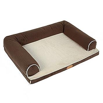 Cama ortopédica con espuma para perros con almohada y forro impermeable y parte inferior antideslizante (