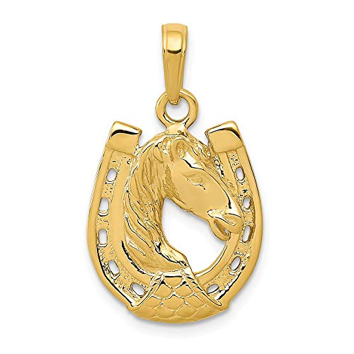 - 14k Yellow Gold Solid Horse Head In Horseshoe Pendant Charm Necklace Good Luck Italian Horn Animal Man Fine Jewelry Gift For Dad Mens For Him