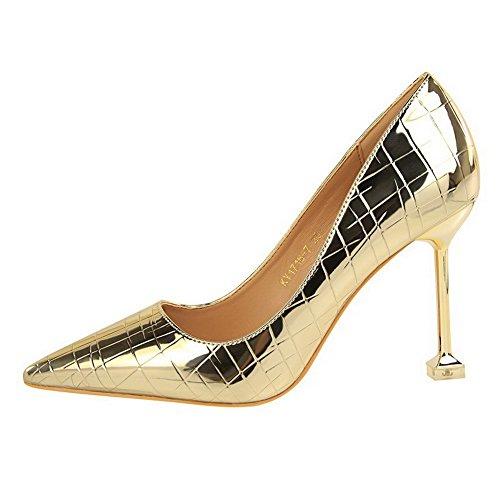 Maiale AgooLar Punta Alto Tirare Flats Oro Chiusa Pelle Donna di Tacco Ballet wqxCnT4tpq