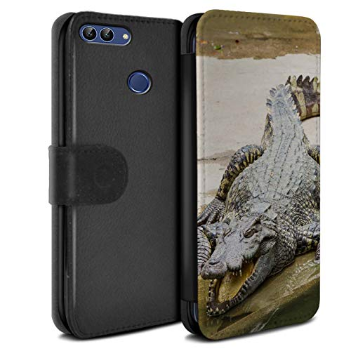 eSwish PU Leather Wallet Flip Case/Cover for Huawei P Smart/Crocodile Design/Wildlife Animals Collection