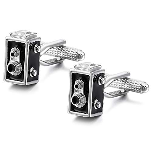 MOWOM Silver Tone Black 2PCS Rhodium Plated Enamel Cufflinks Speaker Shirt Wedding Business