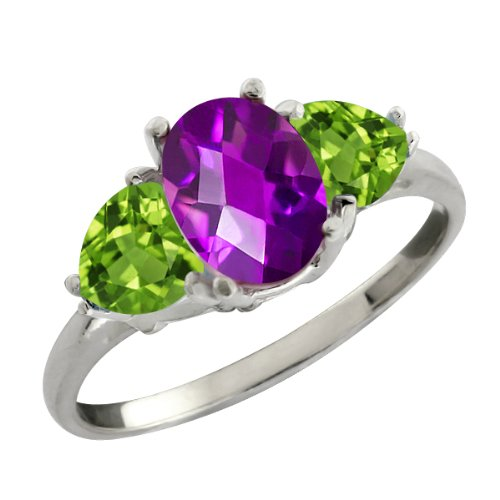 1.96 Ct Checkerboard Purple Amethyst and Green Peridot Sterling Silver Three Stone Ring