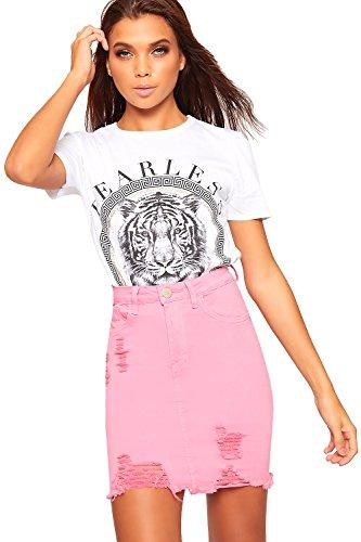 WearAll - Femmes Effiloch Ripped Afflig Bouton Poche Fermeture clair Dames Toile De Jean Mini Jupe - 34-42 Rose