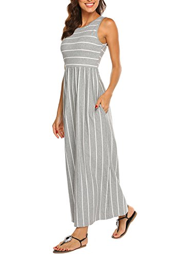 Leg Wide Mix Linen - Hount Women's Casual Striped Sleeveless Tank Summer Beach Maxi Dresses with Pockets (Grey, Large)