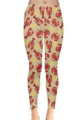 CowCow Womens Red Lobster and Crab Lemon and Dill Pattern Leggings, Red - M