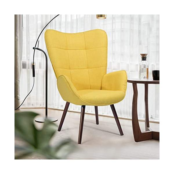 MEUBLE COSY Grand Fauteuil de Salon Canapé 1 Place avec Un Revêtement en Tissu Jaune, des Accoudoirs Rembourés et des…