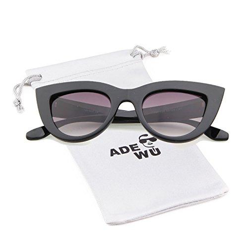 soleil Trendy Retro pour Cadre Noir Lentille Cat de Shiney Fille Vintage Femmes Gris Sexy Eye Lunettes ADEWU XR181q