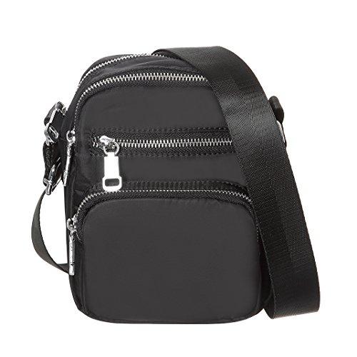MINICAT Nylon Multi-Pockets Small Crossbody Bags Purse For Women(Black) by MINICAT