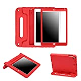 HDE Case for iPad 9.7-inch 2018 2017 Kids Shockproof Bumper Hard Cover Handle Stand with Built in Screen Protector for New Apple Education iPad 9.7 Inch (6th Gen) 5th Generation iPad 9.7 - Red