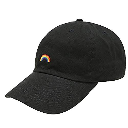 (LGBT Rainbow Embroidered Dad Hat 100% Cotton Baseball Cap for Men and Women Black)