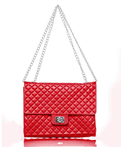 Caseahead Luxury Women Crossbody Shoulder Bag Jelly Quilted Handbag Silicone Clutch Purse with Chain Strap - Red