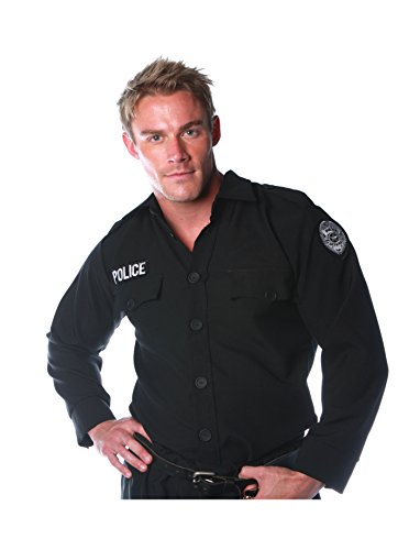 Underwraps Costumes Men's Police Costume - Shirt, Black, -