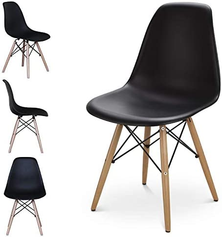 Set of 4 Retro Plastic Dining Chairs Mid Century Modern Style Dining Chair