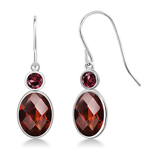 Gem Stone King 3.04 Ct Oval Checkerboard Red Garnet Red Rhodolite Garnet 14K White Gold Earrings