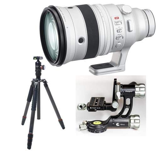 Fujifilm XF 200mm f|2 R LM OIS WR Lens with XF 1.4X TC F2 WR Teleconverter Kit - Bundle with FotoPro X-Go Max Carbon Fiber Tripod with Built-in Monopod, FPH-62Q Ball Head, Fotopro Gimbal Head, Black