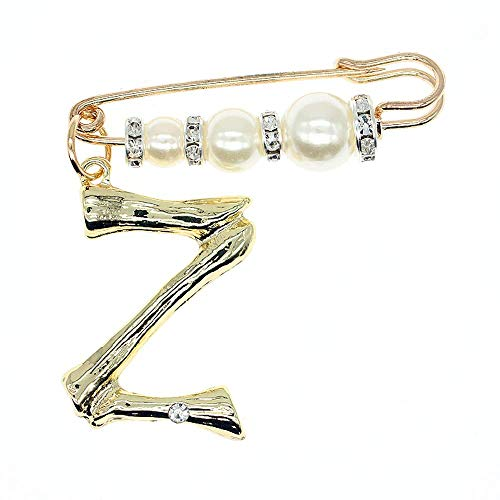 (Fashion DIY Big 26 Crystal Letter Charm Bamboo Initial Pendant Necklace Pearl Brooch Pin Hoop Earrings Gold-Plated 20 Inch Chain Letter A-Z Best For Women Girl Jewelry Gift (Z, gold-plated-brooch))