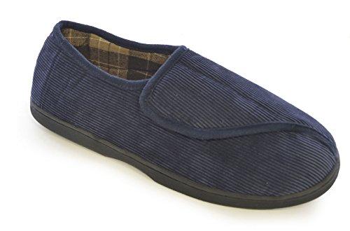 SlumberzzZ para hombre zapato de pana cierre de velcro completo de la espalda Azul