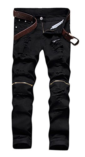Leward Men's Ripped Skinny Distressed Destroyed Straight Fit Zipper Jeans With Holes No Belt (Black, 34)